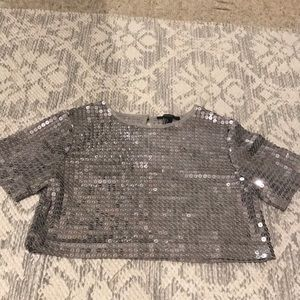 Forever 21 disco silver top cropped